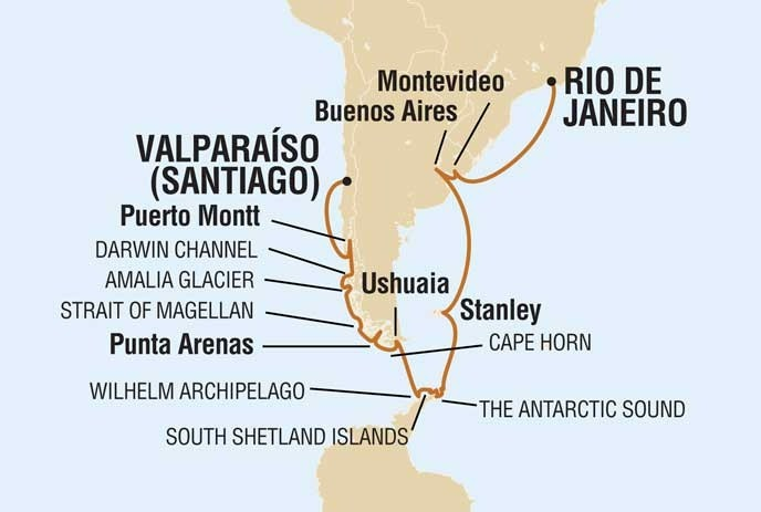 Winter Trip South America And Antarctica Peninsula - Argentina cape horn map